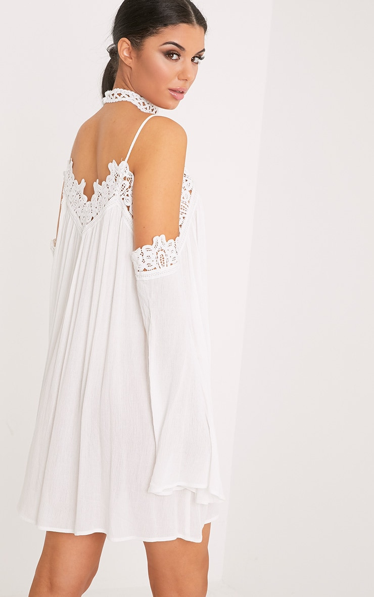 Marisol White Cheesecloth Cold Shoulder Choker Swing Dress 2
