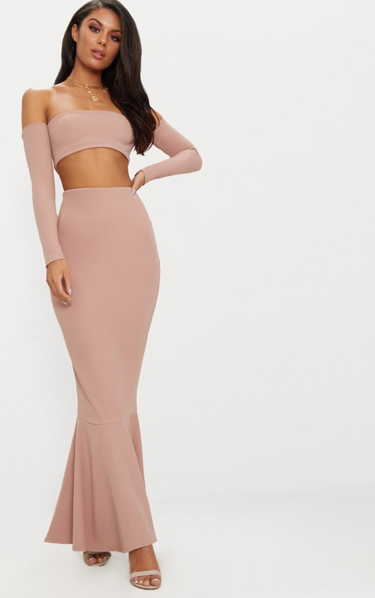 Dusty Pink Bardot Long Sleeve Cut Out Detail Fishtail Maxi Dress Pretty Little Thing uwLX8