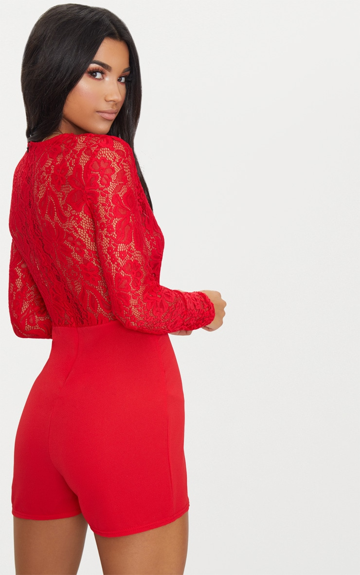 Red Lace Long Sleeve Plunge Playsuit 2