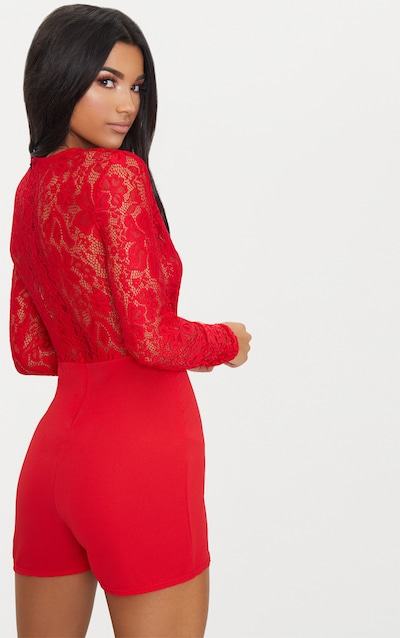 Red Lace Long Sleeve Plunge Playsuit