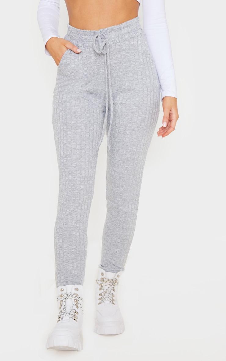 Light Grey Rib Knit Joggers 2