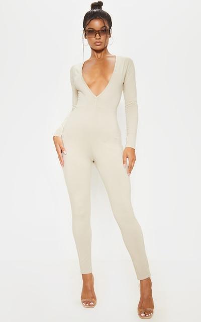 Stone Cotton Elastane Long Sleeve Jumpsuit