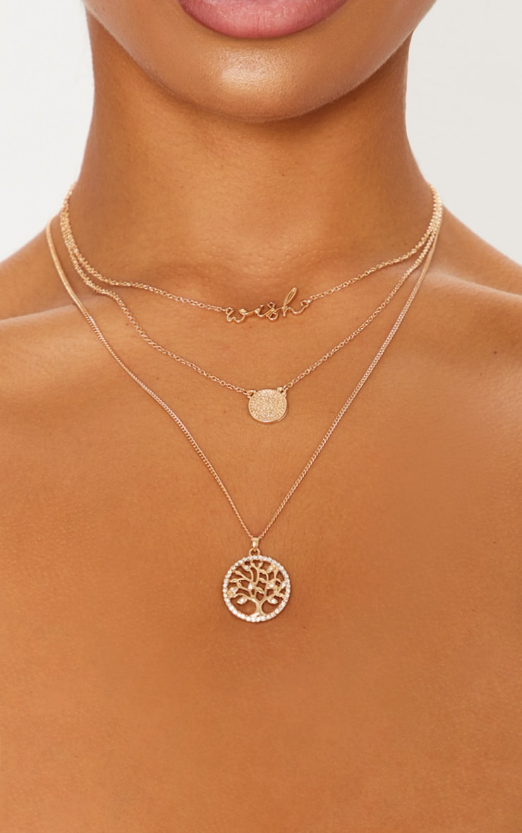Gold Wish Coin Layered Necklace 2