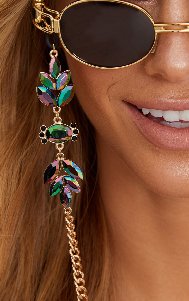 Gold Iridescent Gem Sunglasses Chain 2