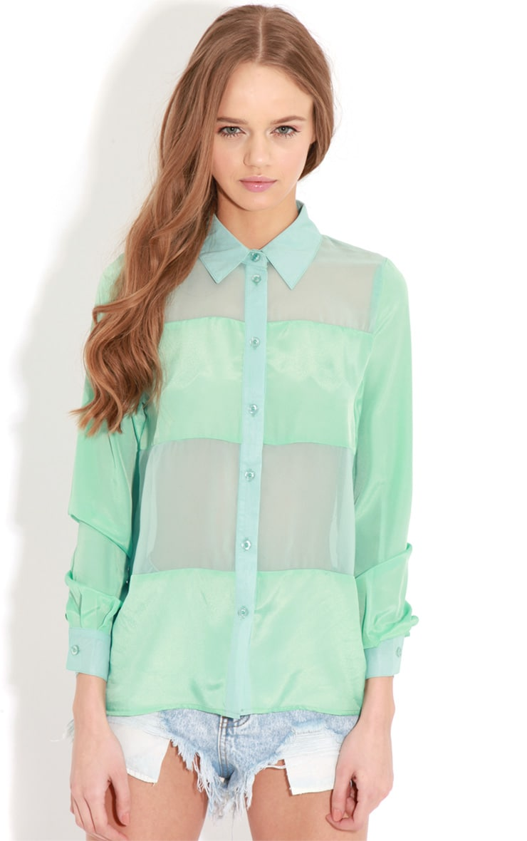 Helena Mint Mesh Panel Blouse  1