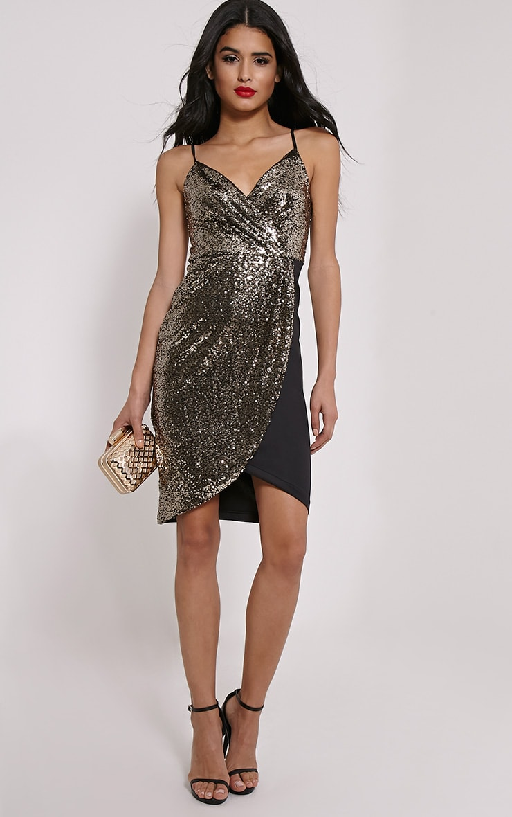 Fhilpa Gold Sequin Wrap Front Bodycon Dress 3