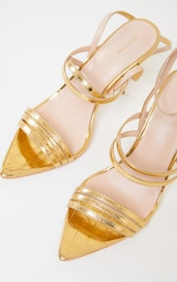 Gold Point Toe Pin Heels Double Strap Heels Sandals 3