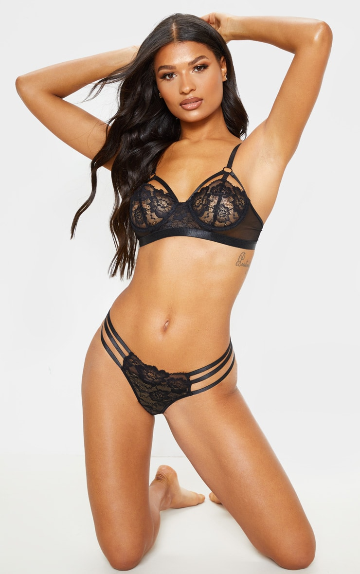 Black Strapping Detail Underwired Balcony Bra 5