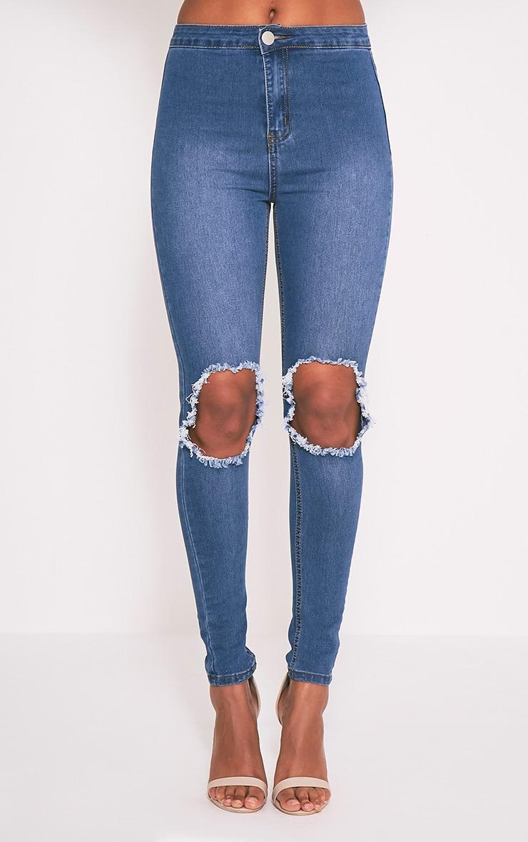 Kylie jean skinny taille haute déchiré aux genoux délavage moyen 4