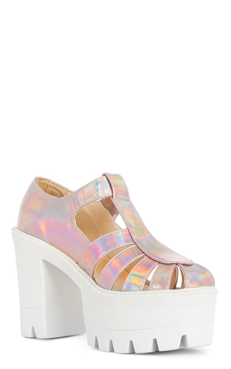 Jamiya Pink Holographic Cut Out Heeled Sandals 2