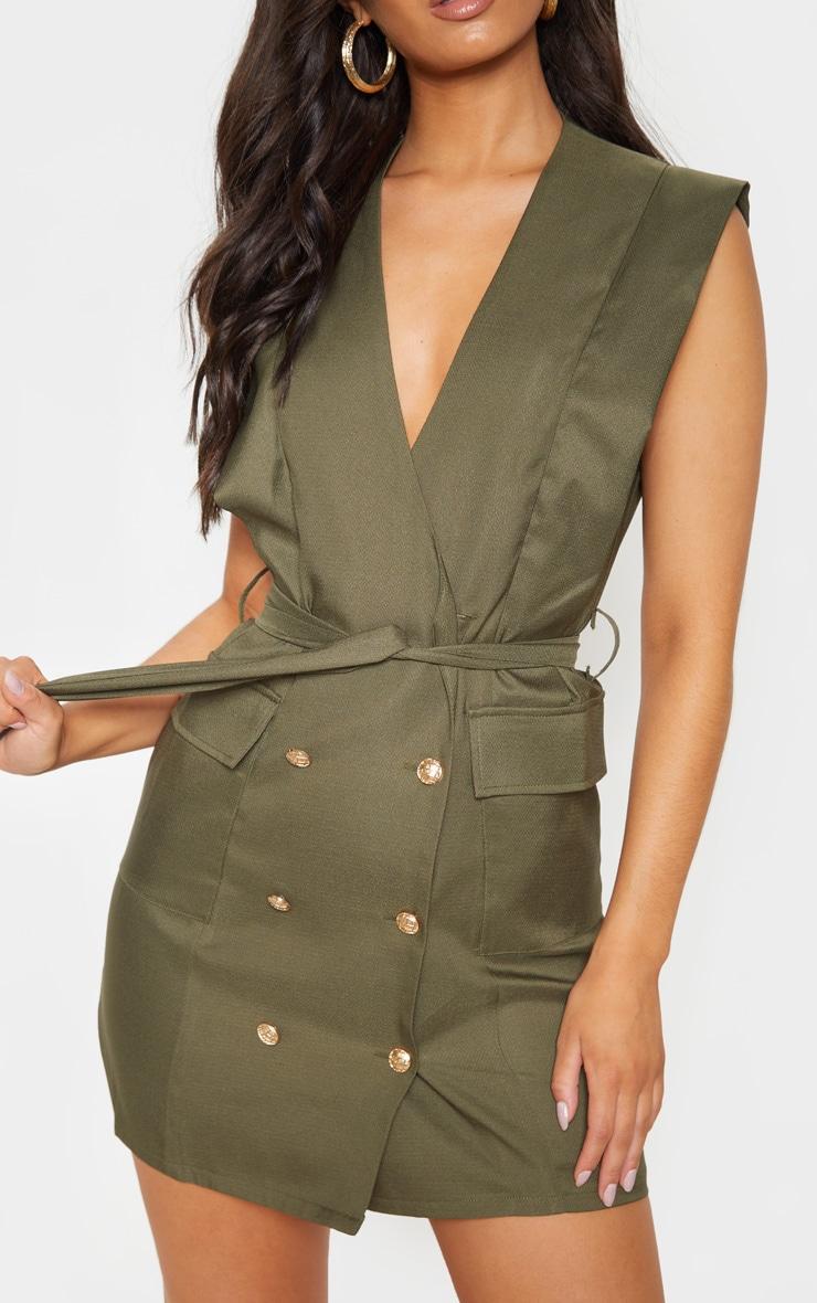 Khaki Sleeveless Gold Button Detail Blazer Dress 5