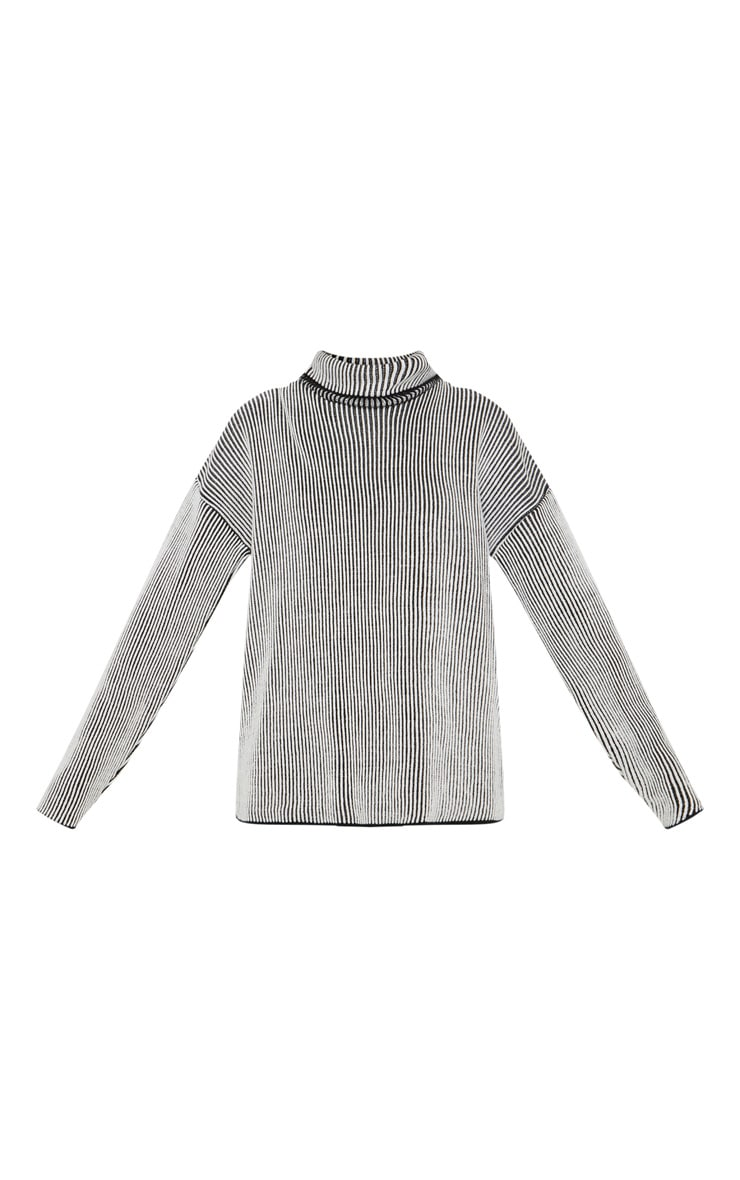Cream Two Tone Knitted Oversized Jumper  3