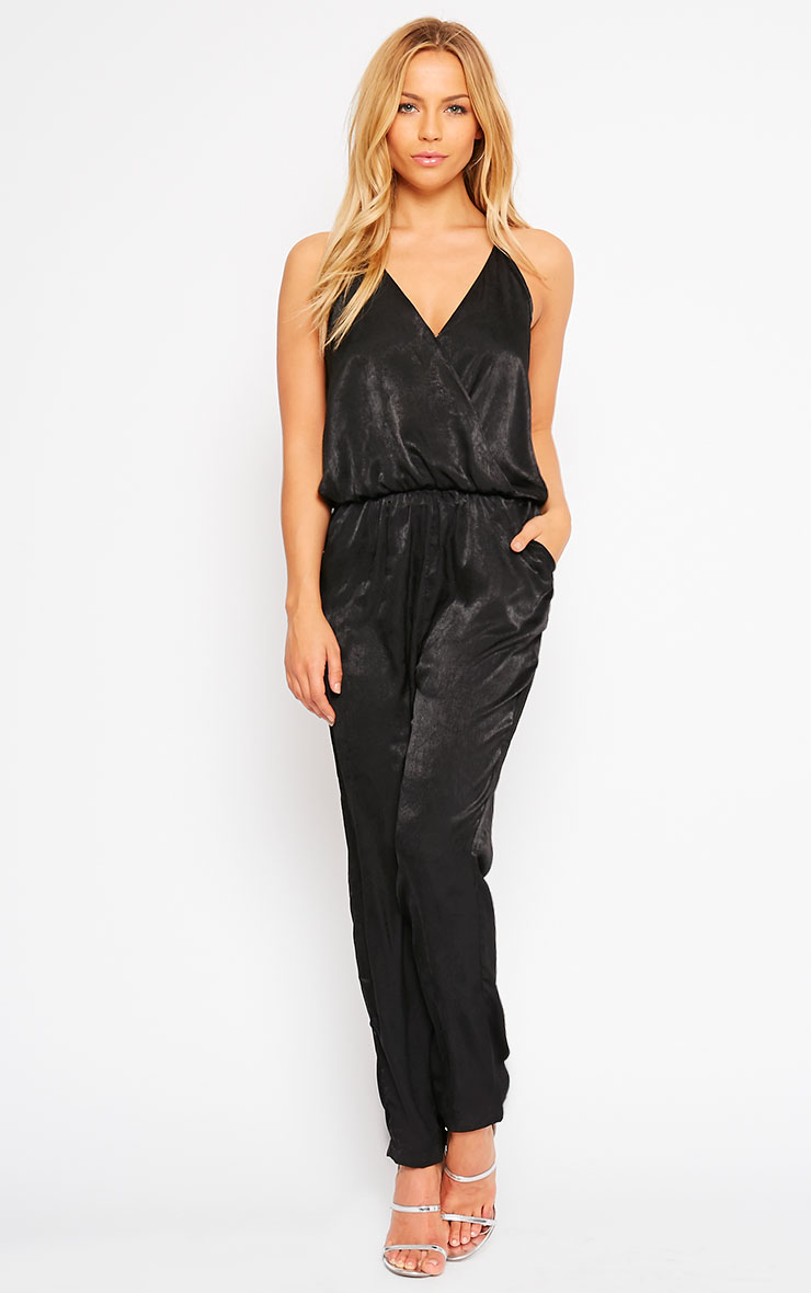 Lila Black Silky Wrap Jumpsuit 1