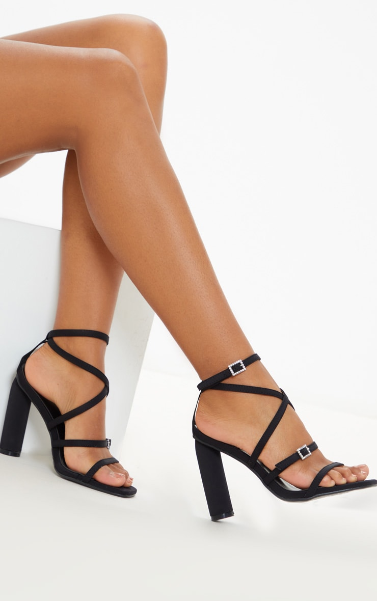 Black Cylinder Heel Diamante Buckle Strappy Sandal 1