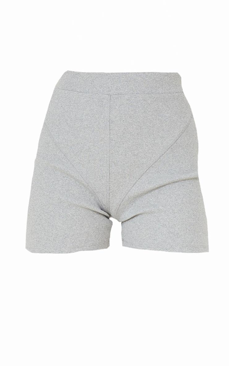 Grey Ribbed Seam Detail Shorts 6
