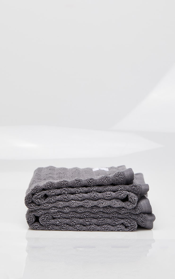 Charcoal Textured Ribbed 2 Pack Cotton Hand Towel 3
