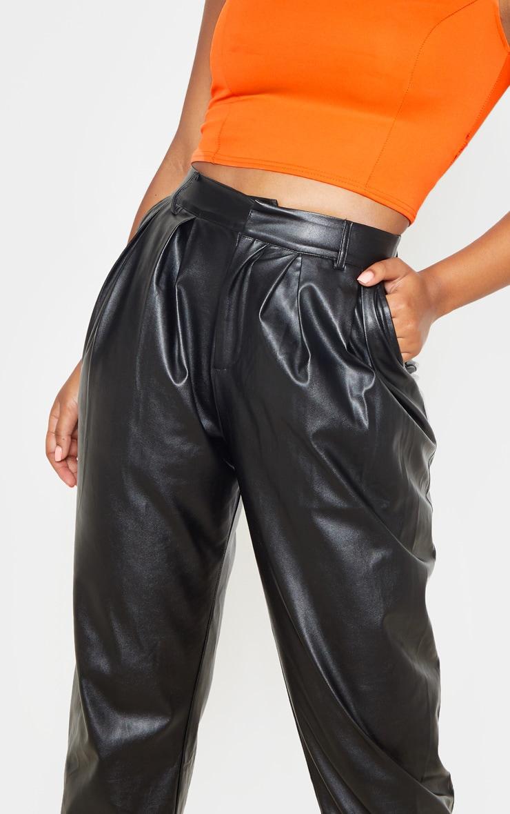 Black Faux Leather Pleat Cigarette Pants 5
