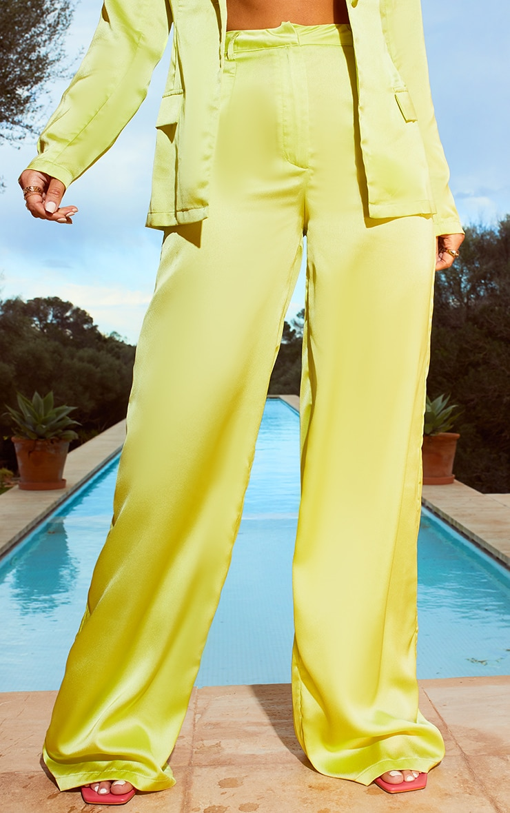 Lime Satin Wide Leg Trousers 2