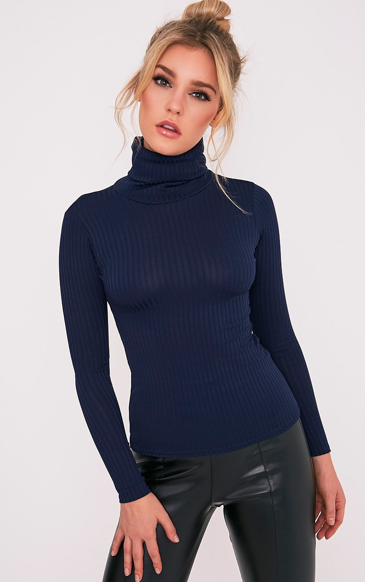 Rheta Navy Ribbed Polo Neck Top 1