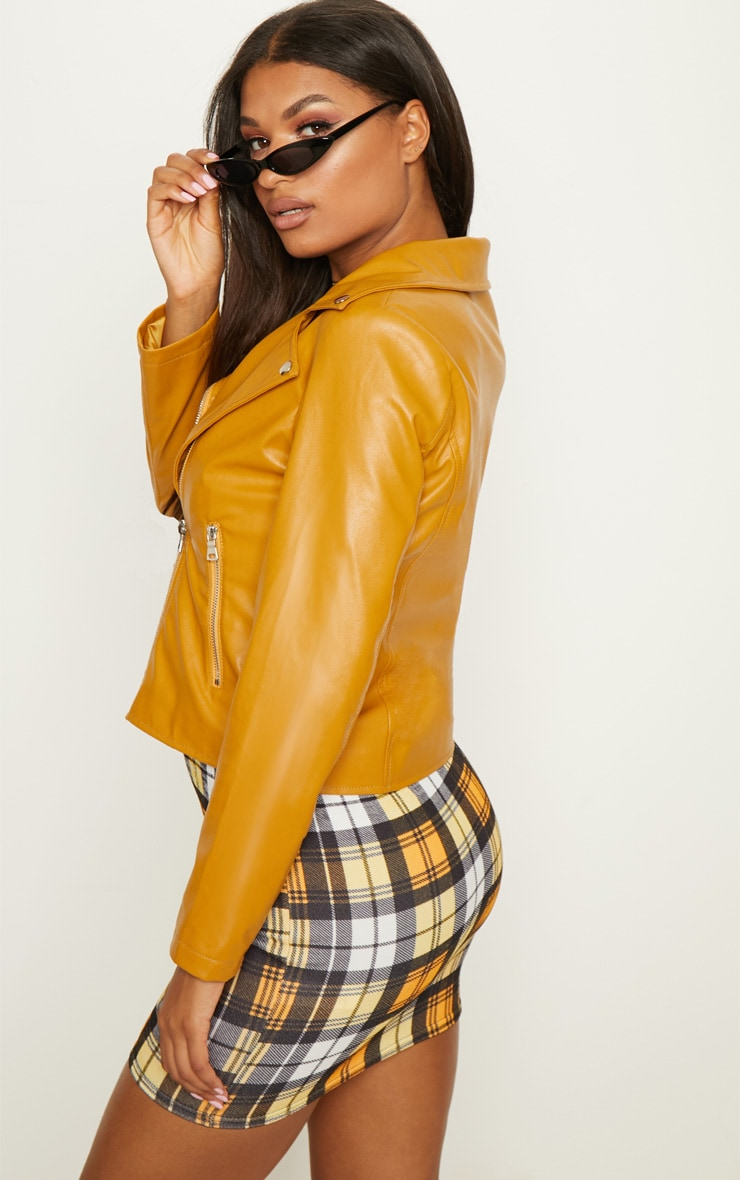 Mustard PU Zipped Biker Jacket  2