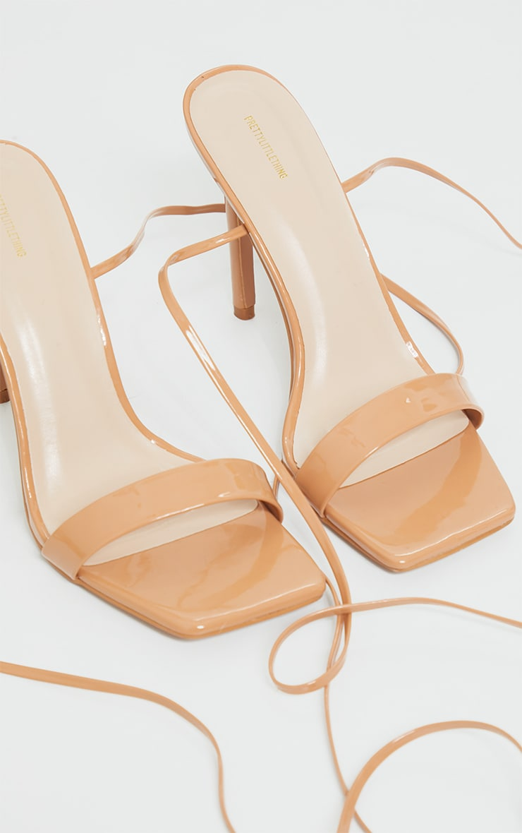 Taupe PU Patent Strap Lace Up High Heels 4