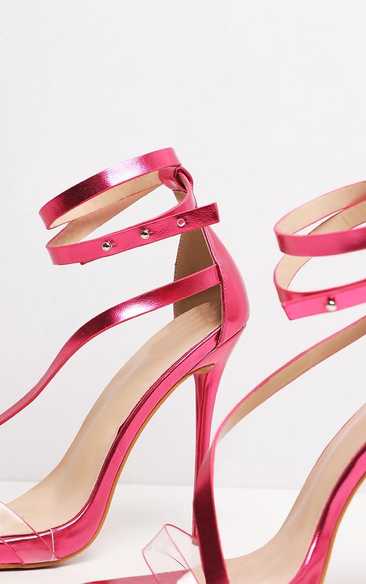 Pink Metallic Square Toe Asymmetric Strap Sandal 4