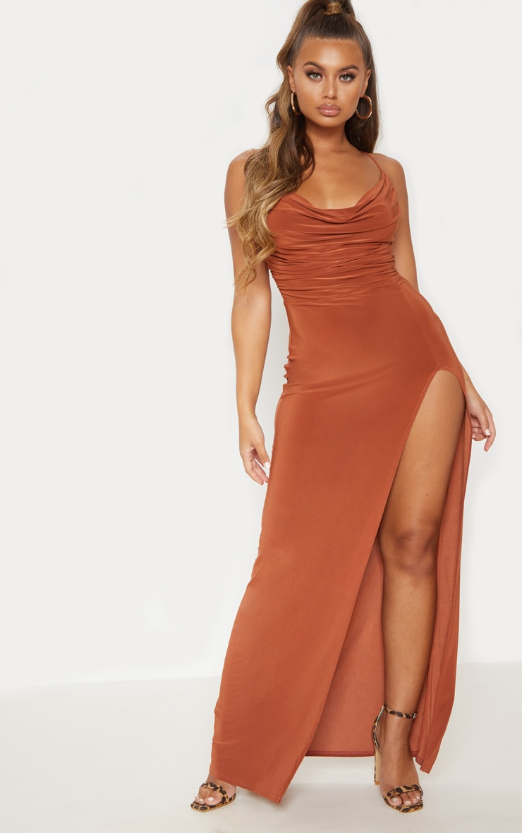 Terracotta Slinky Ruched Drape Split Leg Maxi Dress 1