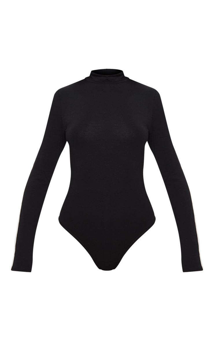 Black High Neck Stripe Long Sleeve Bodysuit 3