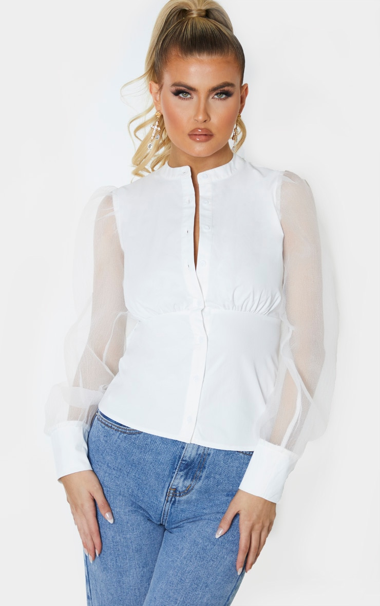 Tall White Organza Oversized Balloon Sleeve Blouse 1