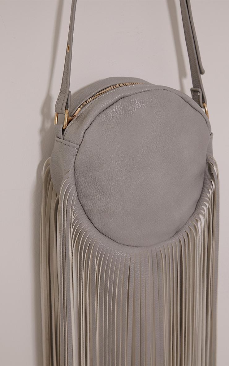 Toyah Grey Faux Leather Circle Fringe Shoulder Bag 4