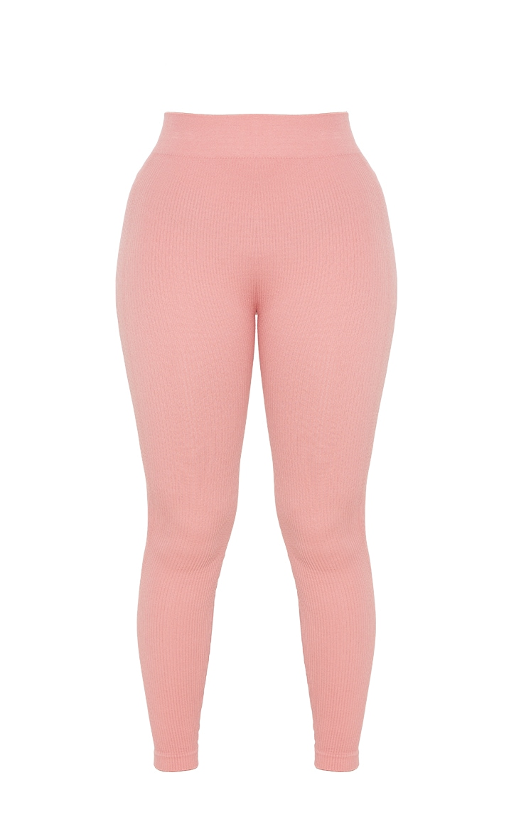 Petite Clay Structured Contour Ribbed Leggings 5