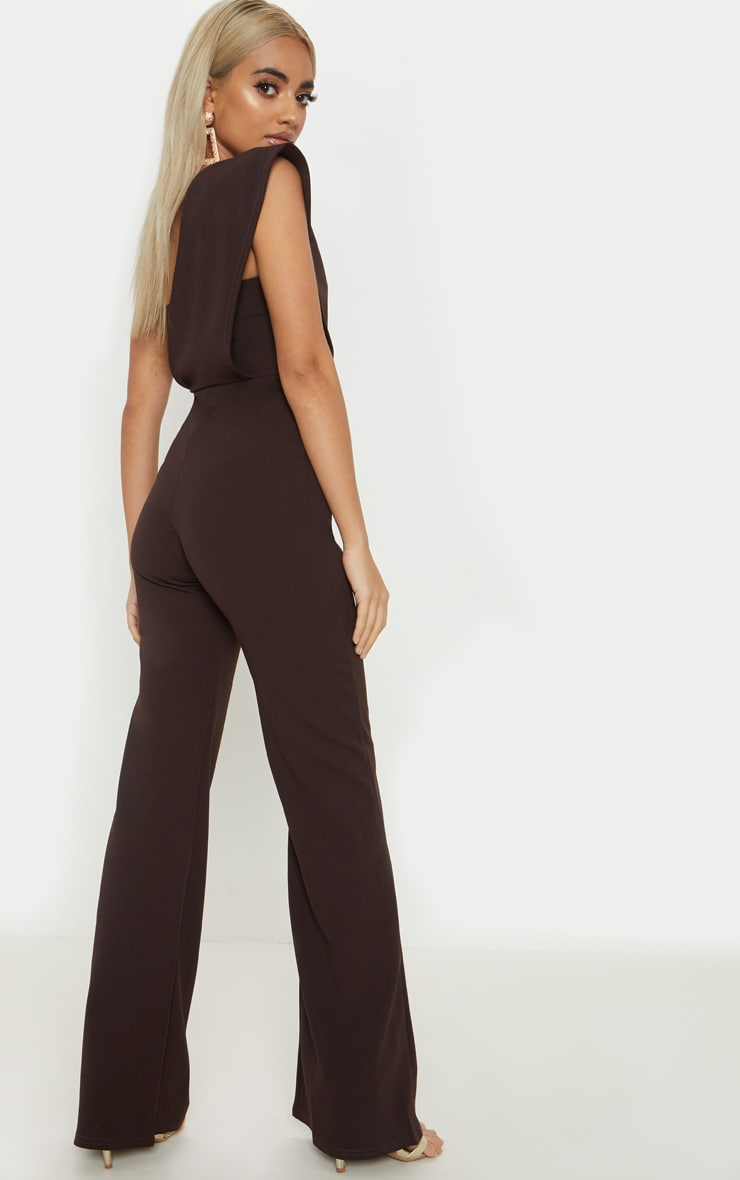 Petite Chocolate Brown Drape One Shoulder Jumpsuit 2