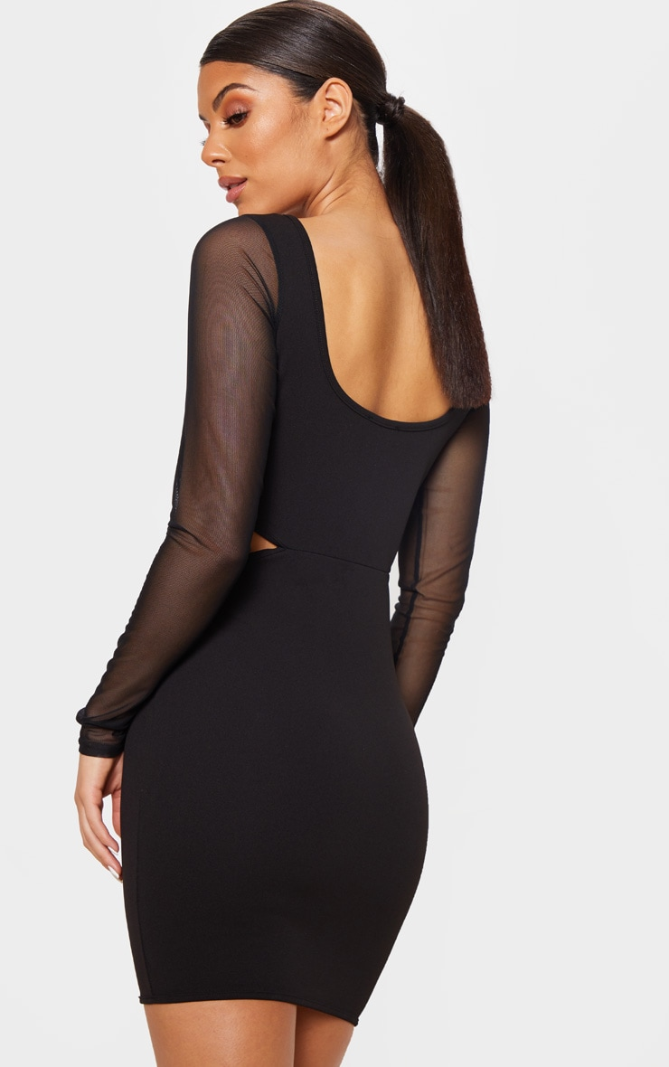 Black Mesh Sleeve Cut Out Bodycon Dress 2