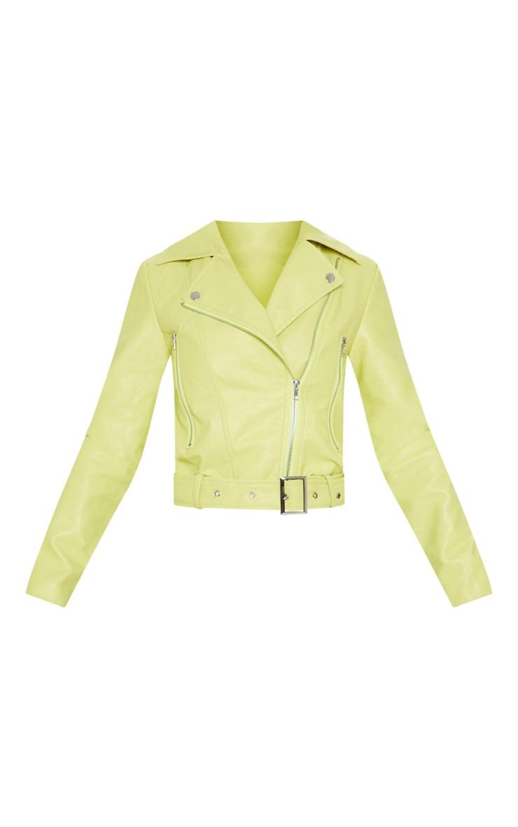 Petite Lime Green Croc Textured PU Jacket 3