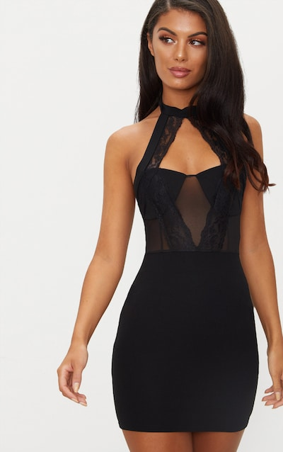Black Lace Trim High Neck Sheer Top Bodycon Dress