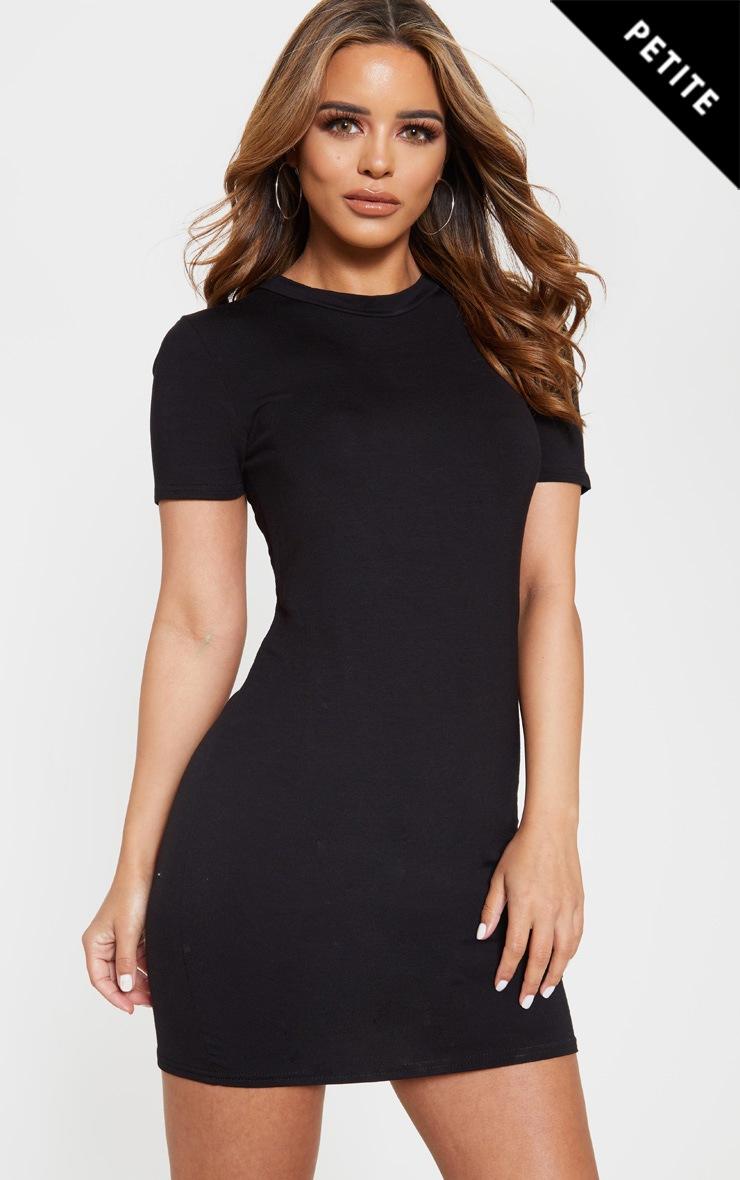 Petite Black Short Sleeve Jersey Dress 1