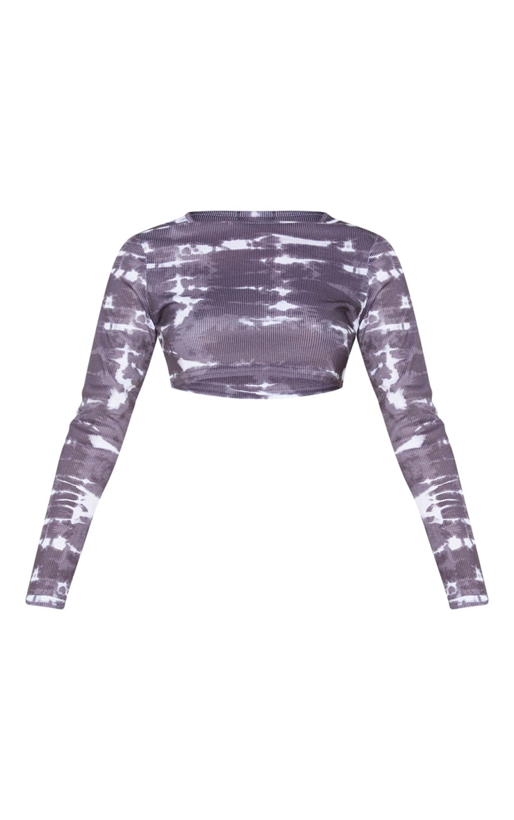 Grey Rib Tie Dye Long Sleeve Crop Top 5