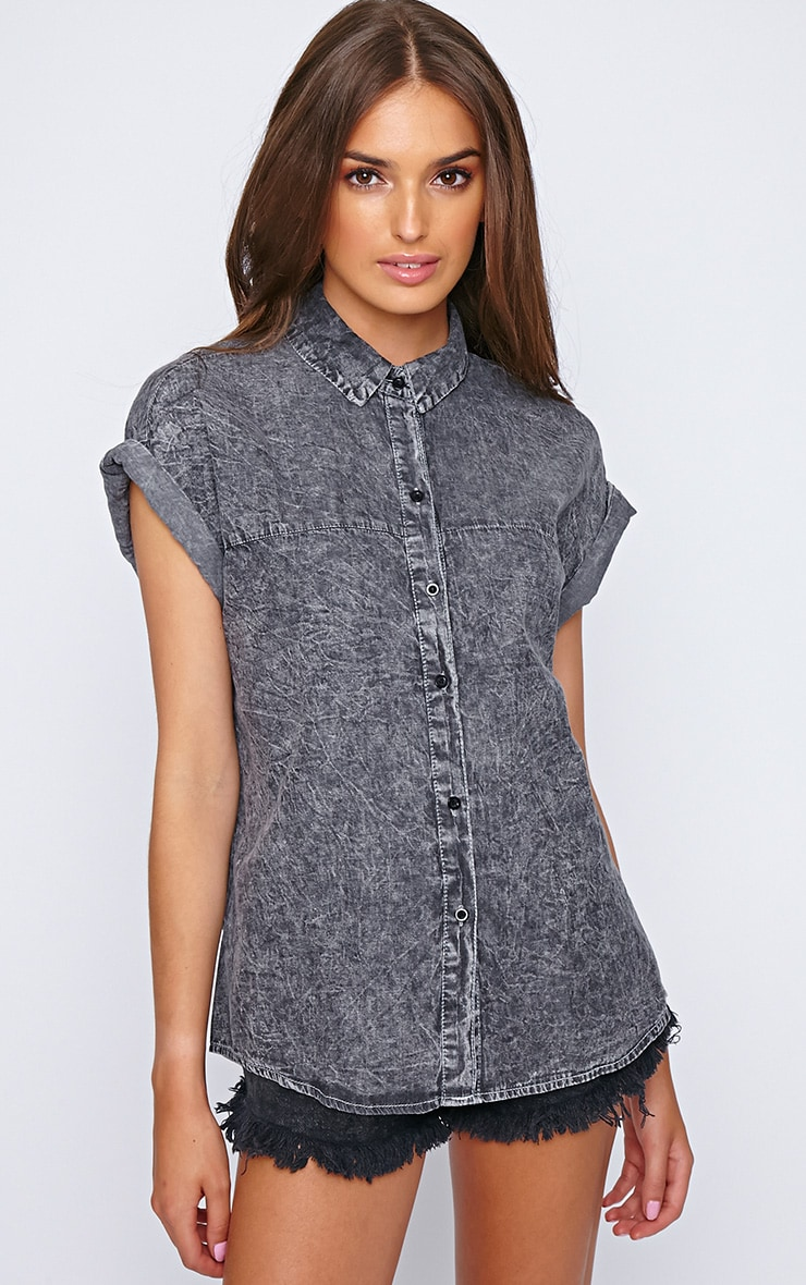Petra Black Wash Button Up Shirt  1