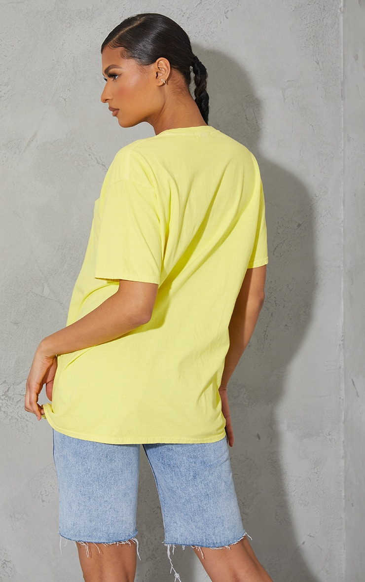 Yellow Hawaii Embroidered Washed T Shirt 2