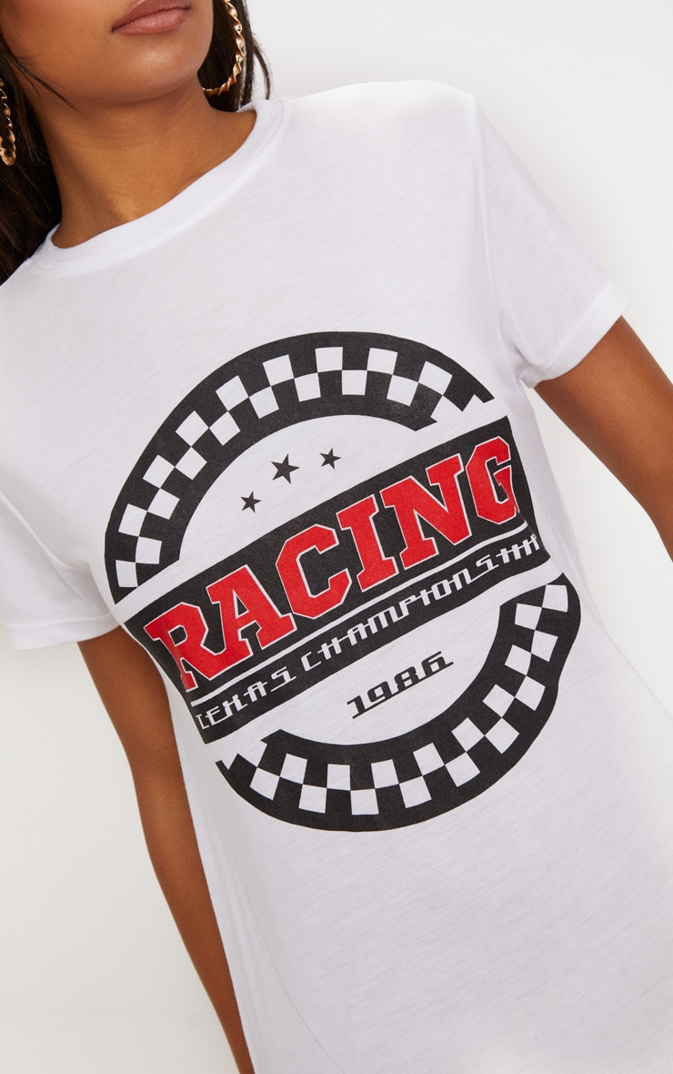 White Racing Motocross T Shirt Dress 5