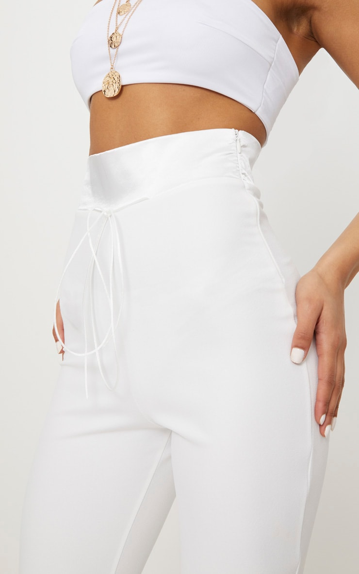 Cream Satin Waistband Detail Flare Trouser 5