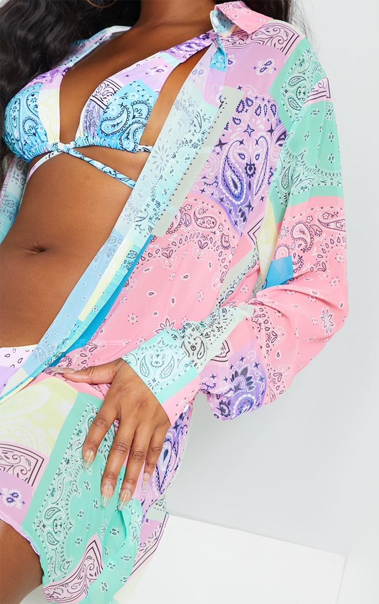 Lilac Bandana Print Oversized Beach Shirt 4