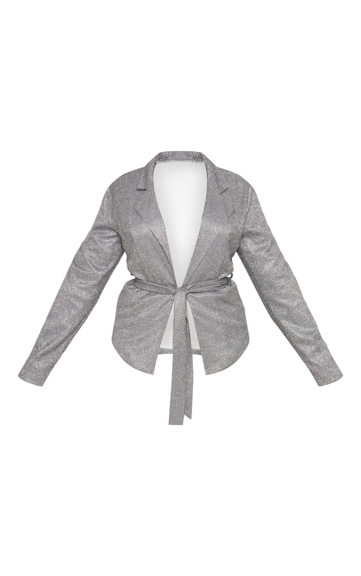 Plus Silver Tie Waist Jacket 3