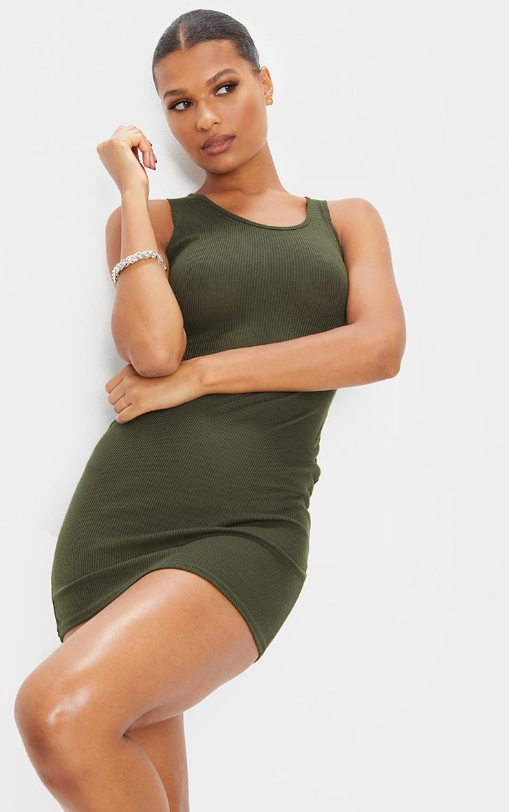 Khaki Ribbed Scoop Bodycon Dress 1