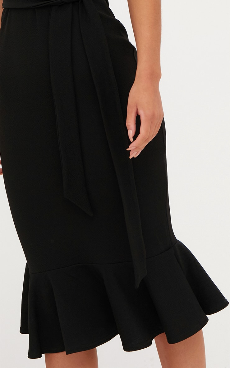 Black Strappy Tie Waist Fishtail Midi Dress 4