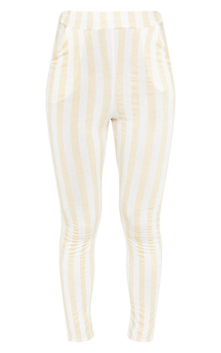 Nude Stripe High Waisted Skinny Trouser -5249