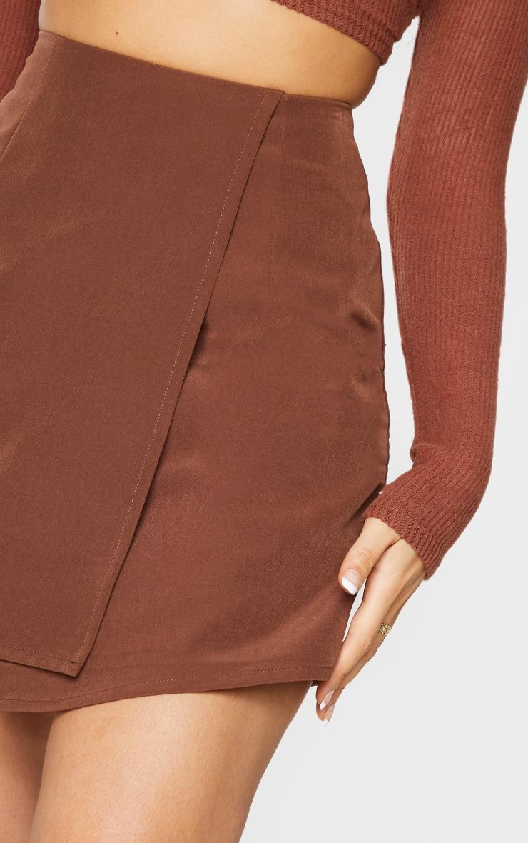 Chocolate Woven Wrap Mini Skirt 4