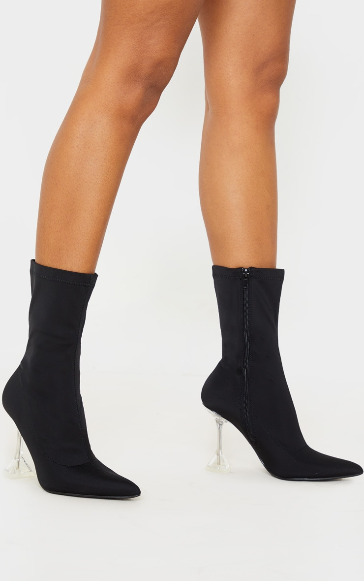 Black Cake Stand Ankle Sock Boot 1