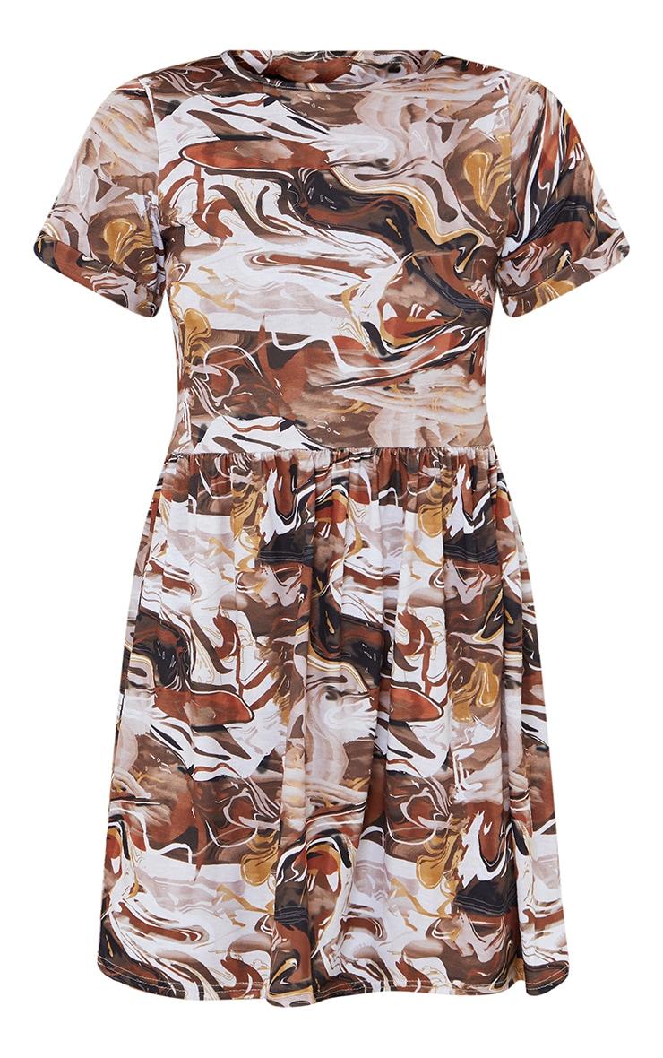 Brown Marble Print Short Sleeve Smock Dress 5