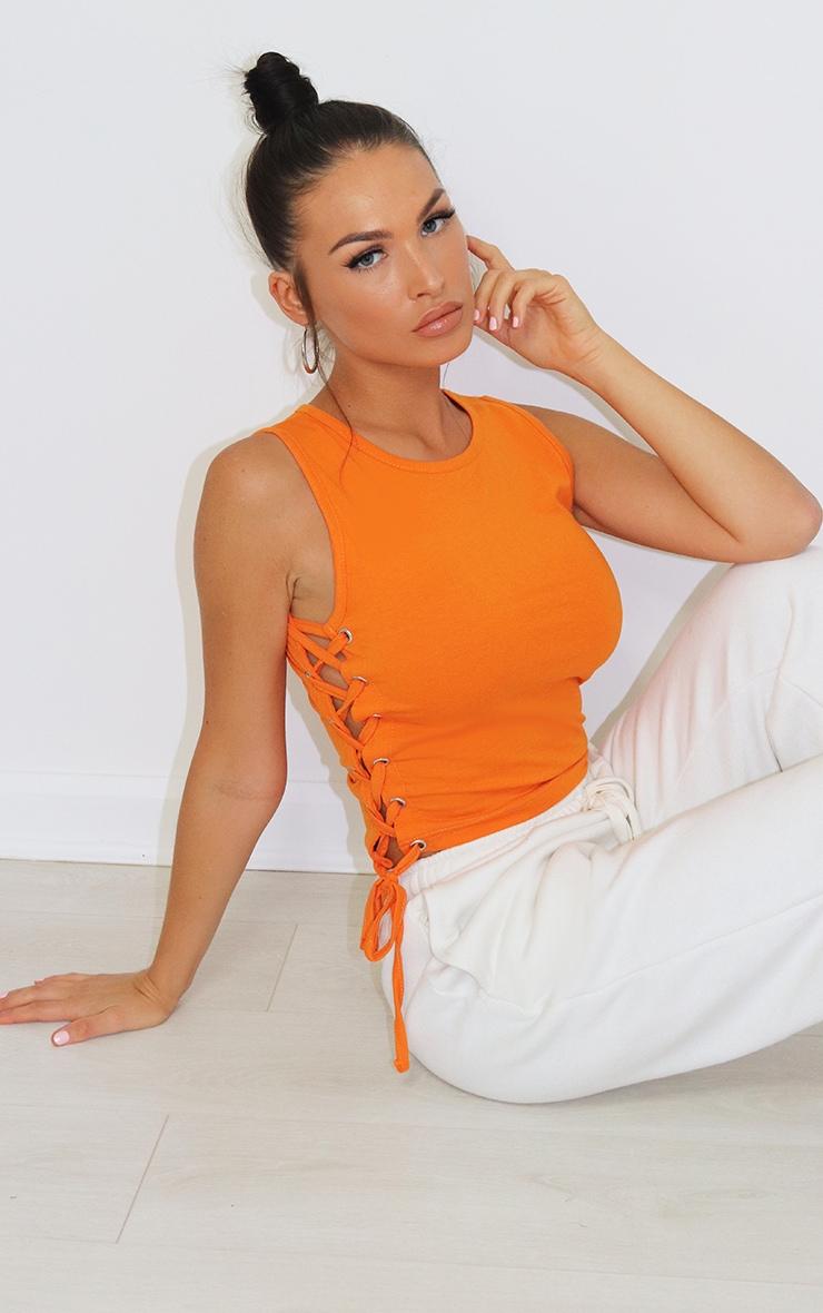 Orange Lace Up Side Vest 1
